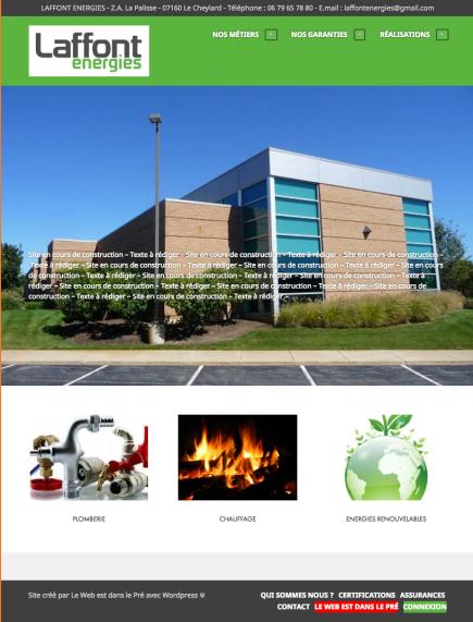 Page d'accueil site internet laffont energies chauffagiste le cheylard
